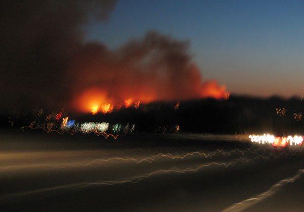 griffith park fire from freeway